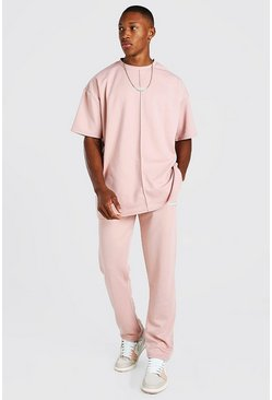 Dusky pink pink Oversized Scuba T-Shirt and Jogger with Man