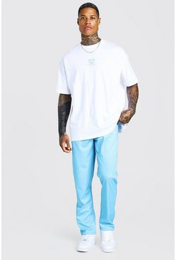 Blue Oversized Man T-Shirt & Tricot Jogger Set