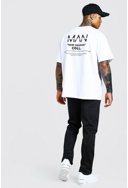 Black Oversized Man T-Shirt & Tricot Jogger Set