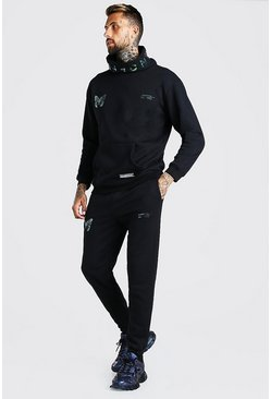 Black Man Reflective Butterfly Snood Hooded Tracksuit