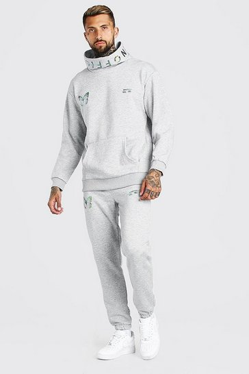Grey marl grey Man Reflective Butterfly Snood Hooded Tracksuit