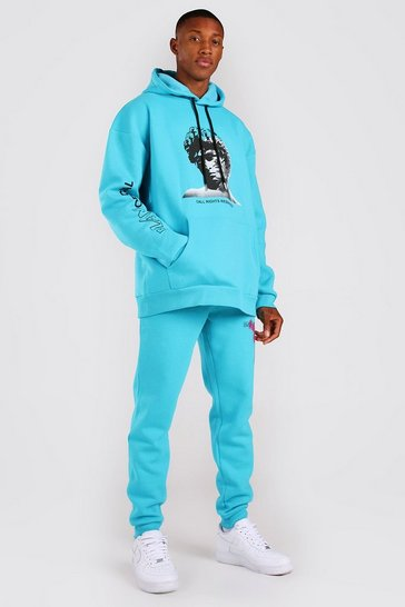 Turquoise blue Oversized Statue Graphic Hooded Tracksuit