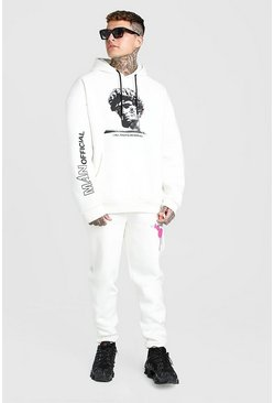 Ecru white Oversized Statue Graphic Hooded Tracksuit