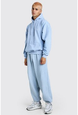 Light blue blue Oversized Man Overdyed Marl Hooded Tracksuit