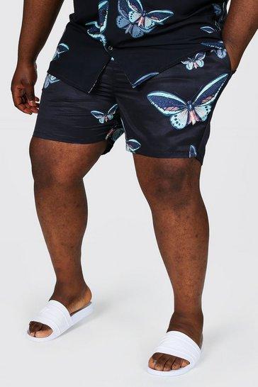 Black Plus Size Butterfly Print Swim Short