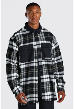 Black Oversized MAN Official Check Shirt