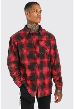 Red Oversized Acid Wash Check Shirt