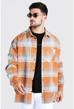 Orange Oversized Check Shirt