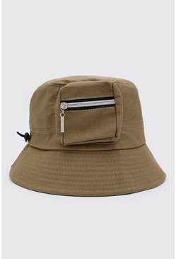 Sage silver grey Utility Bucket Hat With Toggle Detail
