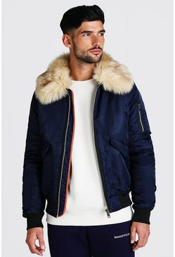 Navy Padded MA1 Bomber With Faux Fur Collar