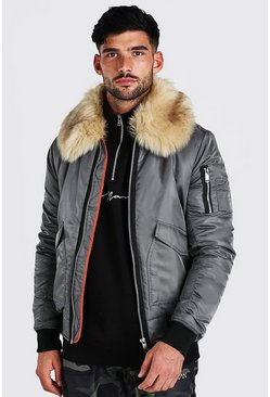 Charcoal Padded MA1 Bomber With Faux Fur Collar