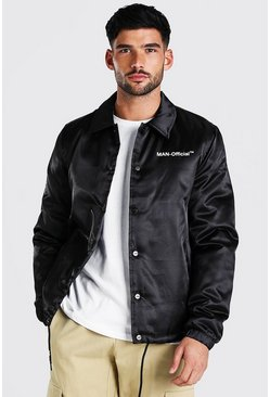 Black MAN Official Satin Coach Jacket
