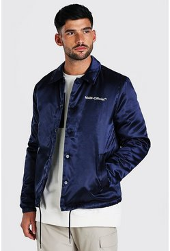 Navy MAN Official Satin Coach Jacket