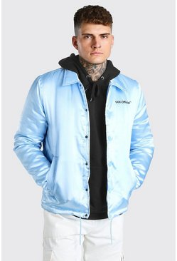 Light blue blue MAN Official Satin Coach Jacket