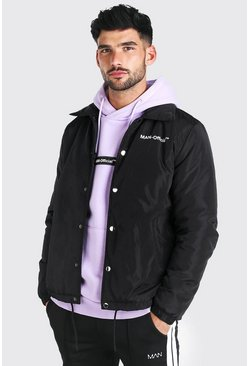Black MAN Official Nylon Coach Jacket