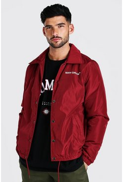 Burgundy red MAN Official Nylon Coach Jacket
