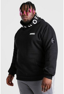 Black Plus Size MAN Official Extreme Snood Hoodie