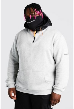 Grey marl grey Plus Size MAN Puffer Snood Hoodie