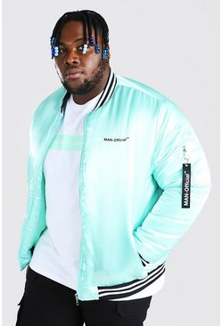 Mint Plus Size MAN Official Satin Trim Bomber