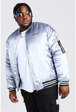 Grey Plus Size MAN Official Satin Trim Bomber