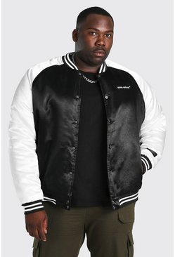 Black Plus Size MAN Official Satin Varsity Bomber