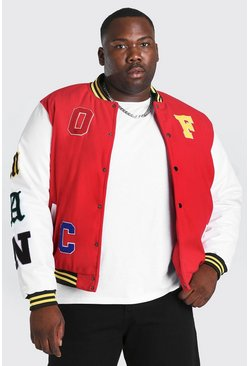 Chaqueta bomber con parche Official MAN Big And Tall, Rojo