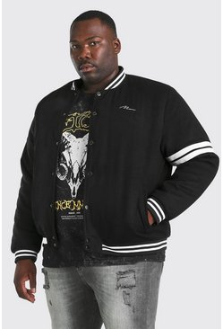 Black Plus Size MAN Wool Look Bomber Jacket