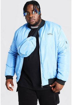 Light blue Plus Size MAN Bomber And Bum Bag