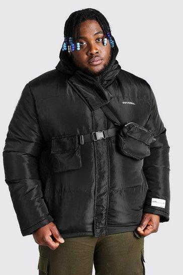 Black Plus Size Detachable Chest Bag Puffer