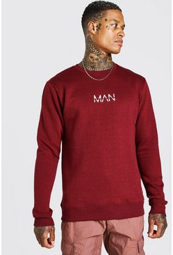 Burgundy red Original MAN Crew Neck Sweatshirt