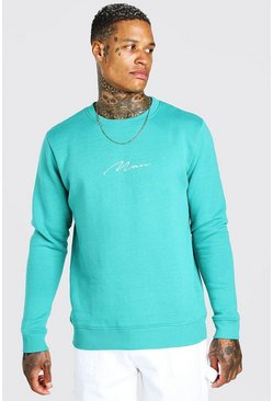 Green MAN Signature Embroidered Sweatshirt