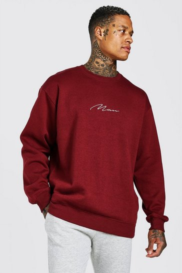Burgundy red Oversized MAN Signature Sweatshirt