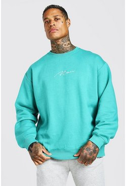 Sweat-shirt oversize signature MAN, Vert