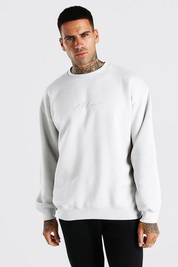 Silver Oversized MAN Signature Sweatshirt