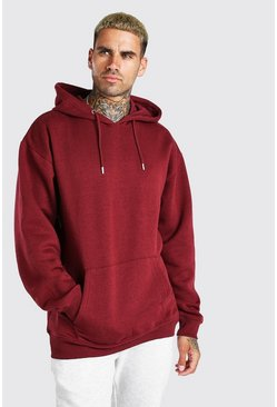 Burgundy red Oversized Fleece Over The Head Hoodie