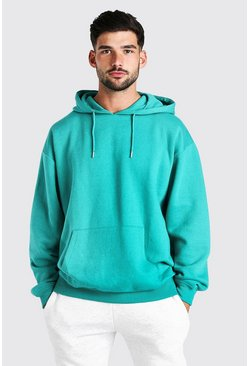 Green Oversized Fleece Over The Head Hoodie