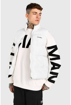 White MAN Funnel Neck Gilet