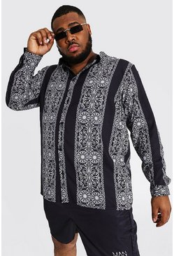 Black Plus Size Baroque Spliced Long Sleeve Shirt