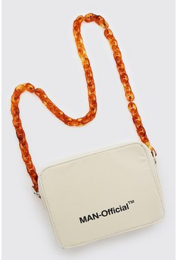 Cream white MAN Multi Pocket Bag With Chain Strap