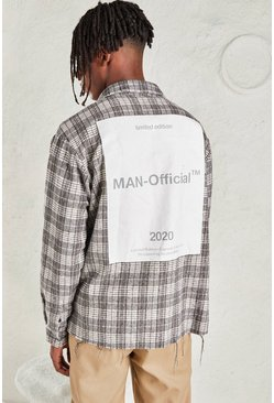 Grey Oversized Check Shirt With MAN Official Back Print