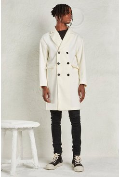 White Relaxed Fit Unlined Overcoat
