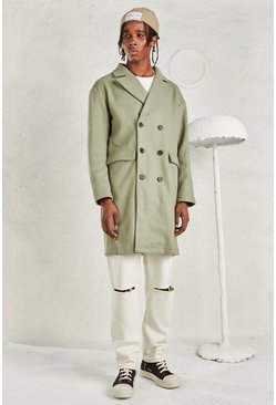 Sage silver grey Relaxed Fit Unlined Overcoat