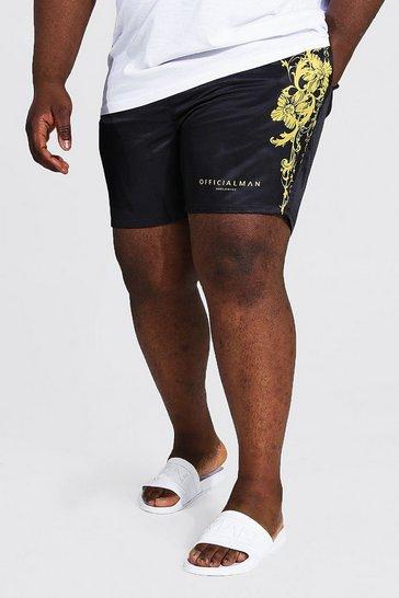 Black Plus Size Official Man Baroque Swim Short