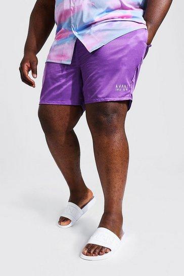 Purple Plus Size Man Dash Mid Length Swim Short