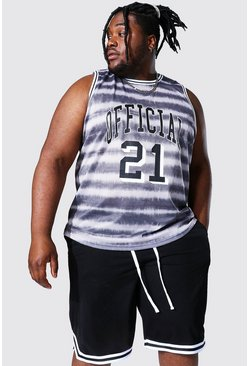 Grey grå Plus Size Mesh Tie Dye Basketball Vest
