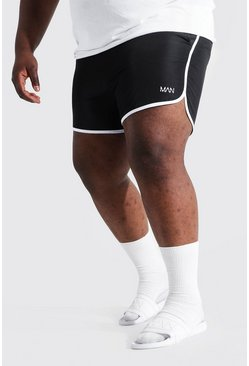 Black Plus Size Man Dash Runner Swim Short