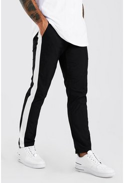 Pantalones de nailon con panel lateral, Negro
