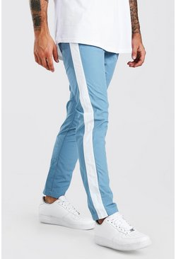 Pantalones de nailon con panel lateral, Azul