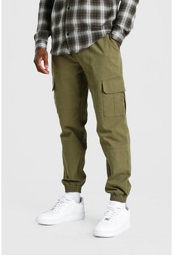Khaki Regular  Fit Twill Cargo Trouser With Cuff