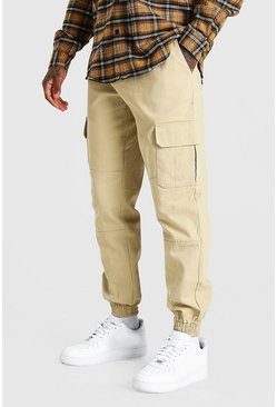Stone beige Regular Fit Twill Cargo Pants With Cuff